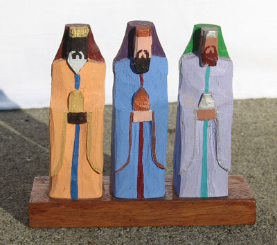 typical wood carving of the three kings