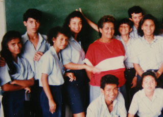 Teacher and students in Golfito, Costa Rica